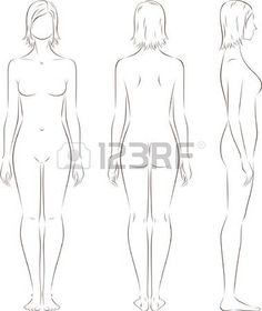 body outline: illustration of women s figure Front, back, side views Silhouettes Illustration