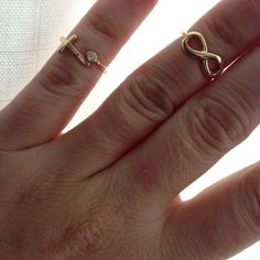 Infinity or Cross Mid Ring Midring  Gold by LovelyBrooklynLove, $12.99