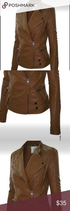 SO Buttery smooth! ‼️Brown leather Moto jacket!NEW IN STOCK, SHIPS SAME DAY!! Enhance your attitude with a faux Motocross styling jacket constructed with detailed seaming.  Adjustable fitted band-collar, brightened by polished charcoal hardware. All over zip and waist belts bring the urban edge, while a slim, feminine cut complements your curves. Small, Medium large.  Make an offer!! Jackets & Coats