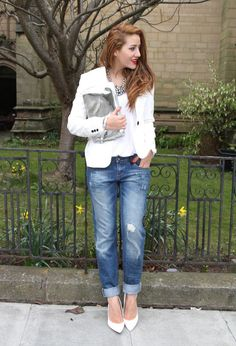 @roressclothes closet ideas #women fashion Ripped Jeans Outfit Idea with White Tops