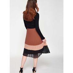 Miss Selfridge Colour Block Pleat Skirt ($95) ❤ liked on Polyvore featuring skirts, assorted, pleated midi skirt, mid calf skirts, colorblock skirts, miss selfridge and block print skirts