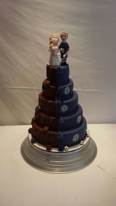 Chelsea & chocolate wedding cake. Made by Nanny Trish's Tasty Cakes