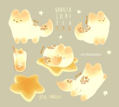 Thai Tea, Matcha, and Milk Tea Foxes © 2016 Nadia Kim *In Progress* Matc...