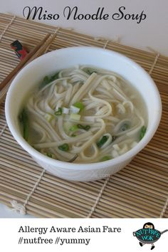 Miso Noodle Soup, perfect for a breakfast on a chilly morning. Double the recipe for lunch or dinner. http://www.nutfreewok.com/miso-noodle-soup/