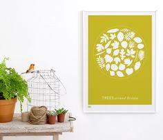 'Trees Around Britain' Art Print in Yellow Moss Framed Artwork, Framed Prints, Art Prints, Elle Decor, Free Gifts, Home Art, Giclee Print, Screen Printing, Britain