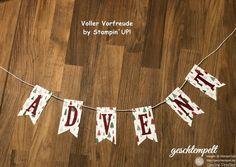 Advent, Advent | geschtempelt, Stampin UP, Voller vorfreude, große Buchstaben, Girlande, Wimpelkette