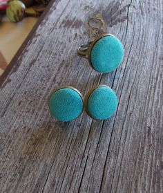 teal aqua blue real leather stud earrings and by ButtonjewelrybyT