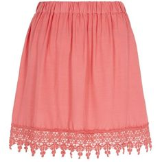 Pink Crochet Trim Skater Skirt (£6) ❤ liked on Polyvore featuring skirts, shell pink, lace skirt, red skirt, flared skirt, flared mini skirt and pink circle skirt