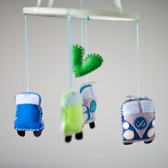 Baby VW Volkswagen Bus and Beetle Nursery Mobile by FeltBaby.. love this! i need anther baby!!!