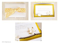From a real twig, blossoms paper flowers against a bright yellow silk covered card. The invitation is printed on textured watercolor paper. The card sits inside a gorgeous silk box wrapped with a double-faced ribbon imported from Japan! Bright Yellow, Watercolor Paper, Custom Invitations, Blossoms, Paper Flowers, Ribbon, Japan, Silk, Printed