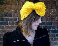 Women's  Knitted Headband with Long Bow by LivelyLoops on Etsy, $21.95