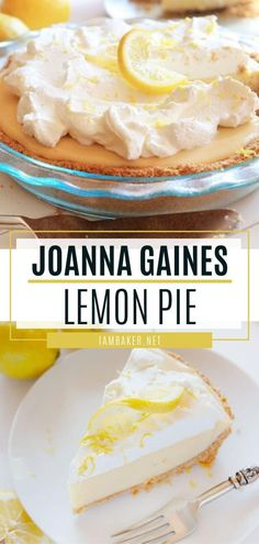 Joanna Gaines Lemon Pie - The easy spring lemon pie recipe will be your new favorite! Joanna Gaines Lemon Pie is bursting wit - Graham Crackers, Graham Cracker Crust, Graham Cracker Recipes, Lemon Dessert Recipes, Easy Desserts, Easy Pie Recipes, Desserts With Lemon, Lemon Recipes Baking, Recipes With Lemon