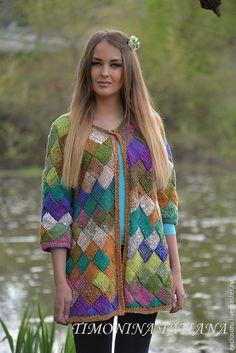 Кардиган ''Мозаика'' из пряжи Норо. Exclusoru (Тimonina Tatiana). Интернет-магазин Ярмарка Мастеров. #knitting