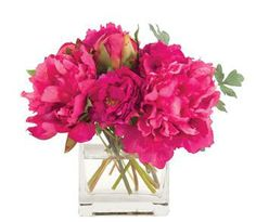 Natural Decorations, Inc. - Peony Fuchsia, Glass Cube