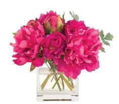 Natural Decorations, Inc. - Peony Fuchsia, Glass Cube