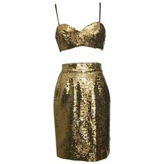 cb1aeab627d 1990s Moschino Couture Gold Sequin Cropped Bustier and Skirt Set