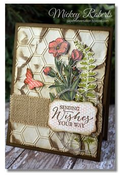 butterfly basics card by Mickey Roberts.... love the hexagon background and burlap!