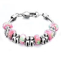 Pugster Pink Murano Glass Combined With Silver Puppy Couple Pandora European Beads