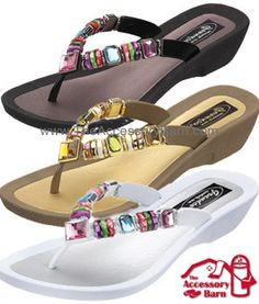 25f11cca642a Grandco Sandals Rainbow Thong style number 26245E. Jeweled and beaded  rubber sole in black