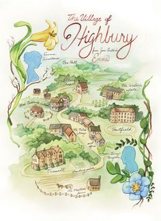 A map of Highbury from Jane Austen's Emma