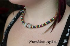Tribal Necklace - Glass Murano beads, 2 cats eye pearly white with a red/clear central bead - wrapped in embroidery thread with clasp by SunshineArtists on Etsy