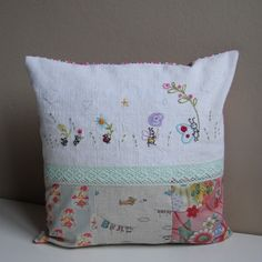 Hand embroidered cushion by Roxy Creations, via Flickr