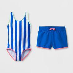abba115208 Cat   Jack Girls  Baewatch One Piece Swimsuit Set - Cat   Jack Blue