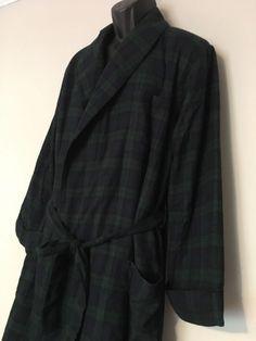 LL Bean Lined Robe Med Blackwatch Green Blue Plaid Polyester Fleece Warm  Cozy  LLBean   c9ad5a6f3