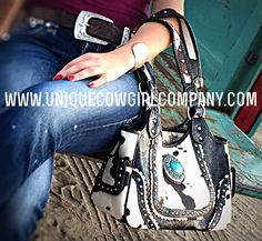 Western Cow Purse with Turquoise @ www.UniqueCowgirlCompany.com