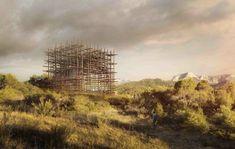 """藤本壮介建築設計事務所による""""Solo House""""は、細い木枝の格子状のBOXの柵の中に、内と外の境がない住居スペースが配置されている。"""