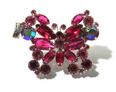 Red Aurora Borealis Rhinestone Butterfly Clip VINTAGE Butterfly Clip One (1) Large Rhinestone Bug Insect Butterfly Vintage Jewelry (S60) by punksrus on Etsy