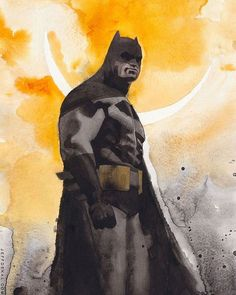 Batman by Jeff Dekal #Batman #DarkKnightReturns style. Background is watercolor but the figure is several layers of watered down acrylic. Commission for #emeraldcitycomicon #eccc