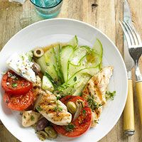 BHG's Newest Recipes:Chicken, Tomato & Cucumber Dinner Salad Recipe