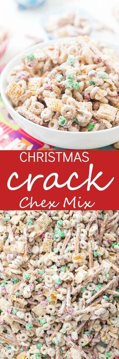 Christmas Crack Chex Mix is a family-favorite filled with Chex mix, cheerios, salted peanuts, M&M's, pretzels, and coated in chocolate! Beware because it's highly addictive and so good! Makes for delicious homemade gifts! via Chelsea Haga {Gal on a Mission}