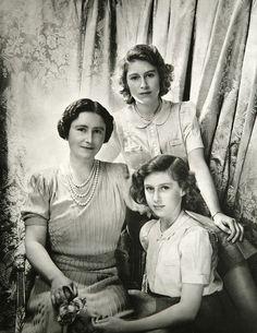Royal Mother and Daughters - Queen Elizabeth (later the Queen Mother), Princess Elizabeth and Princess Margaret.