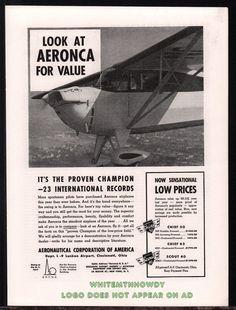 1939 AERONCA Chief 50 ? Aircraft Aviation Plane Airplane AD w/ original prices