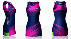 Viper 10 Netball Kit Gallery - Ideas for your Club, University & Tour! Netball Dresses, Viper, Pink Dress, Designer Dresses, Sportswear, University, Club, 3d, Desserts