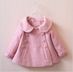 Autumn Winter Children Coat Kids Coats For Girl Doll Collar Double Breasted Coats 2015 New Baby Girl Pure Color Tench Coats Outwear 5pcs/lot