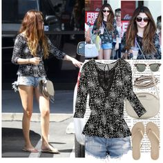 Selena wearing DOL $12 top #dresslike by totallymileynessafan on Polyvore featuring polyvore, fashion, style, One Teaspoon, T KEES, MANGO, Ray-Ban, dream out loud, selena gomez and jimmy choo