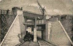 3 bridges, Brunel.   Road over canal over rail. Windmill Bridge, Southall, London, W7 3ST