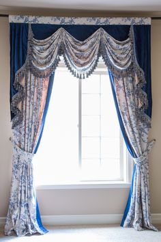 Feast your eyes upon the intricate bird and floral pattern and subtle sheen of the velvety fabric. Let this truly majestic set lighten up your room.  http://www.celuce.com/p/419/pheasant-on-rose-vine-blue-valance-curtain-set