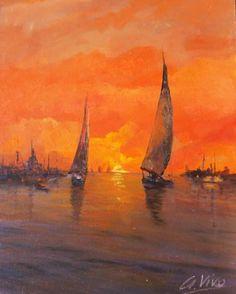 "Saatchi Art Artist Andres Vivo; Painting, ""2 sailing ships at sunset  Nº3767"" #art"