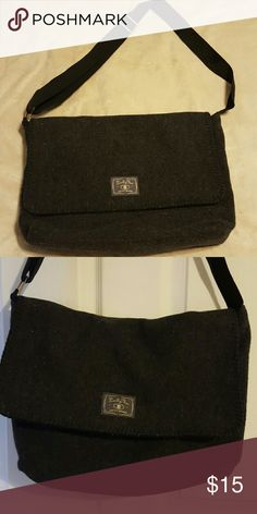 """Lucky brand messenger bag Charcoal wool blend meesenger bag. Lucky you lucky brand. Great for lap tops. Excellent condition.  15.5"""" wide x 13"""" tall x 4"""" deep with an up to 22""""  Adjustable strap, inner compartment has zippered pocket Lucky Brand Bags"""