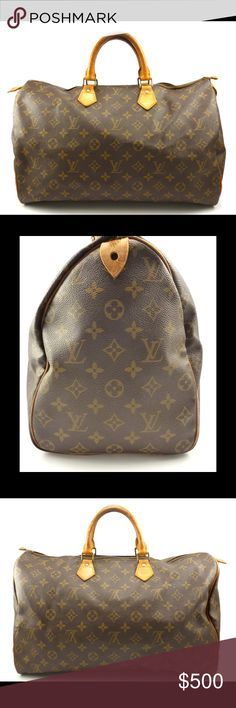 Louis Vuitton Auth Speedy 40 Vintage Monogram Bag The perfect travel bag! This vintage LV Speedy 40 is in great condition. The Monogram Canvas and interior are both in clean and free of any rips. Dual rolled handles, brass hardware and vachetta leather trim finish off this iconic bag. Single slip pocket inside and zip closure at the top. Please note that the leather pull on the zipper has broken. See last picture. Guaranteed Authentic. Date Code : VI871 (France 1987) Please feel free to ask…