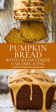 This Pumpkin Bread with Cream Cheese Caramel Icing is super easy to make! It's moist, tender, full of pumpkin and spice. But the best part is the super easy cream cheese caramel icing!!  #pumpkinbread #creamcheesecaramelicing