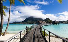 Download wallpapers Bora Bora, ocean, summer travel, vacation, blue lagoon, tropical islands, resort, French Polynesia