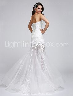 Trumpet / Mermaid Wedding Dress Floor-length Sweetheart Lace / Organza with Flower / Lace 2016 - $119.99