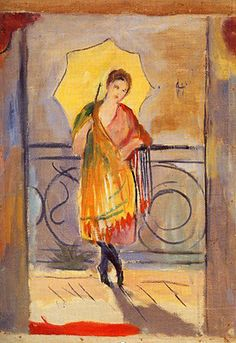 Charles Camoin, Lola à l'ombrelle jaune, 1920 on ArtStack #charles-camoin #art