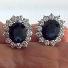 #emeraldsmaravellous 14.00 CT Estate Natural Blue Oval Sapphire & Diamond Earrings 18K W.G