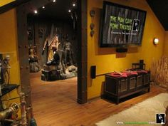 horror man cave :) I would encourage my future husband to have a horror cave mos. - horror man cave :] I would encourage my future husband to have a horror cave most definitely. Home Theater Decor, At Home Movie Theater, Goth Home Decor, Home Theater Design, Tv Decor, Theater Rooms, Theatre, Nerd Room, Nerd Cave